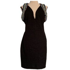 H&M Bodycon Embroidered Plunging V Neck Dress M
